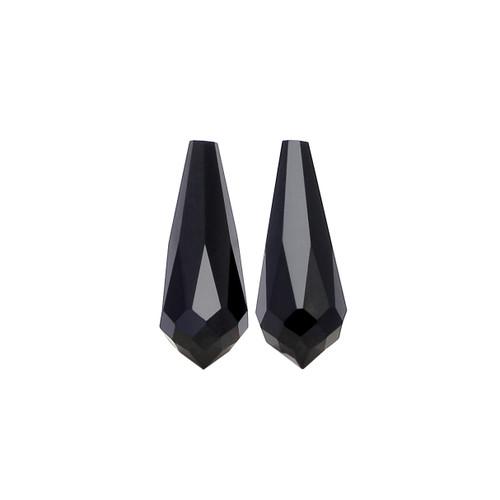 Black Onyx Briolette / Drops  18X7 mm 1 Pair  8.77 Carats GSCBON018