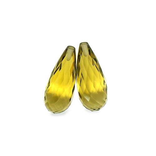 Lemon Quartz Briolette / Drops Faceted 8X20 mm 16.99 Carats GSCLQ003