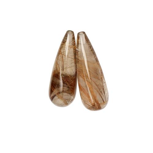 Rutile Quartz Briolette/Drops Cabochon 10X30 mm 39.06 Carats GSCRTQ007
