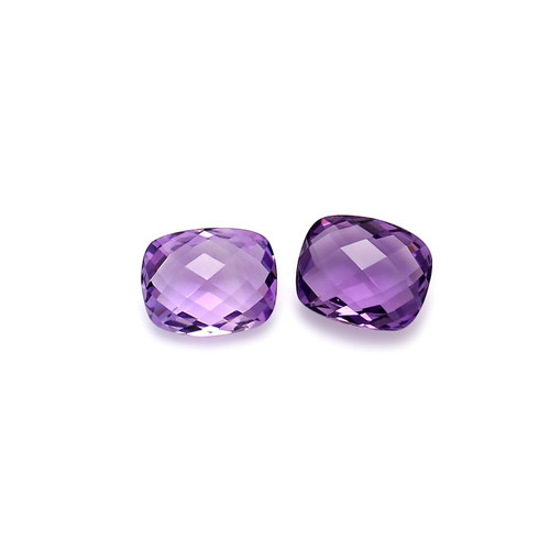 Amethyst Double Side Checkerboard Cushion 8X10X5 mm 2 Piece 5.49 Carats GSCAM046