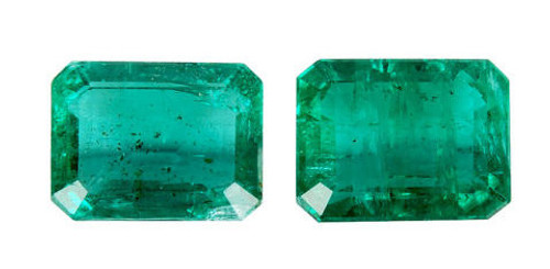 Emerald Cushion Cut Faceted Pair 1.46 Carat Each