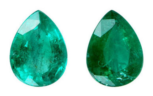Emerald Pear Cut Faceted Pair 1.12 Carat Each