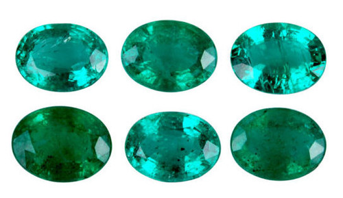 Emerald Oval Cut Faceted 5 Piece Set 1.06 Carat Each