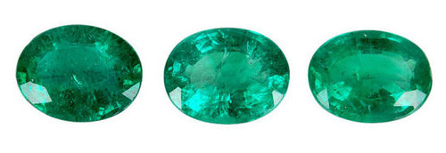 Emerald Oval Cut Faceted 3 Piece Set 1.77 Carat Each