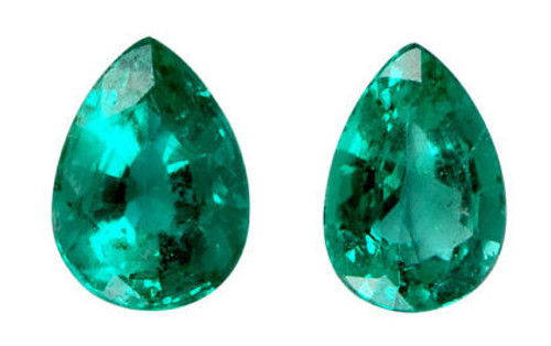 Emerald Pear Cut Faceted 2 Piece Set 0.73 Carat Each