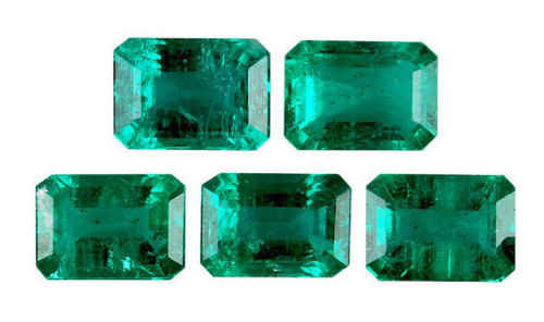 Emerald Octagon Cut Faceted Pair 1.07 Carat Each