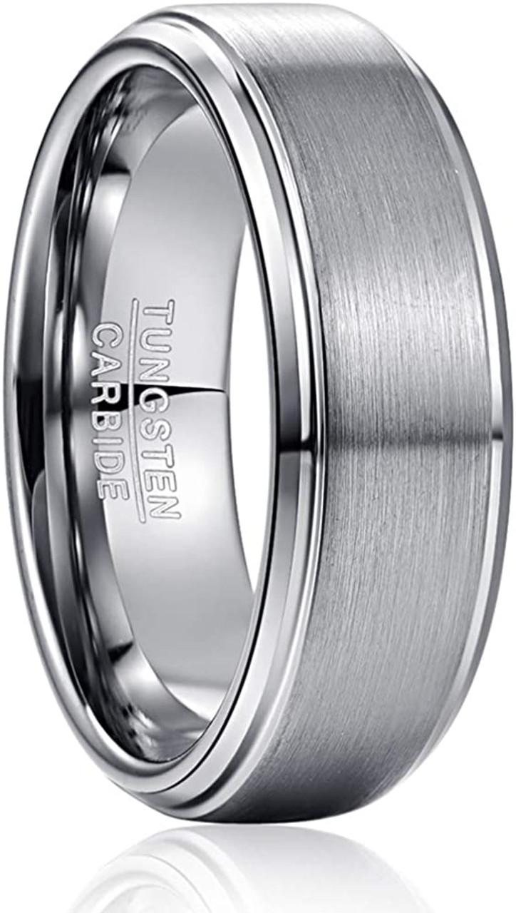 Tungsten Wedding Band Mens Wedding Band Ring 8mm Wedding Band Ring Unisex Wedding Band Brushed Tungsten Carbide Silver Ring Men Wedding Band