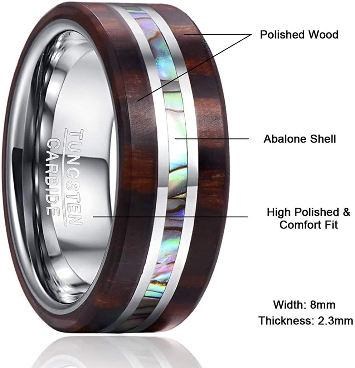 W2 Wolfram Ring mit Abalone Inlay Tungsten Carbide EDEL 8mm breit unisex
