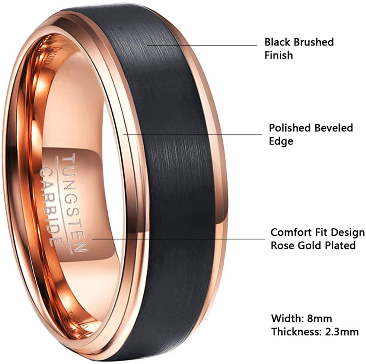 Promise Rings for Him Gift for Anniversary and Engagement Black Brushed Mens Tungsten Carbide Wedding Ring with Rose Gold Band Grooved