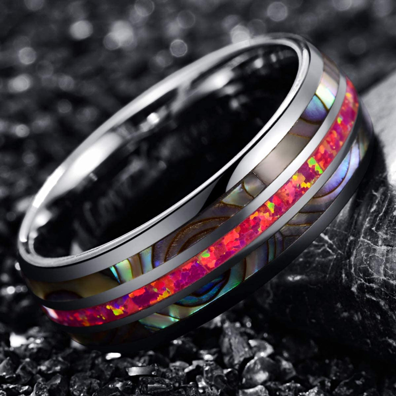 Ola Wedding Ring,Tungsten Wedding Ring,Red Opal Ring,Tungsten Carbide Ring,8mm Tungsten Ring,Engagement Ring,8mm Tungsten Wedding Ring