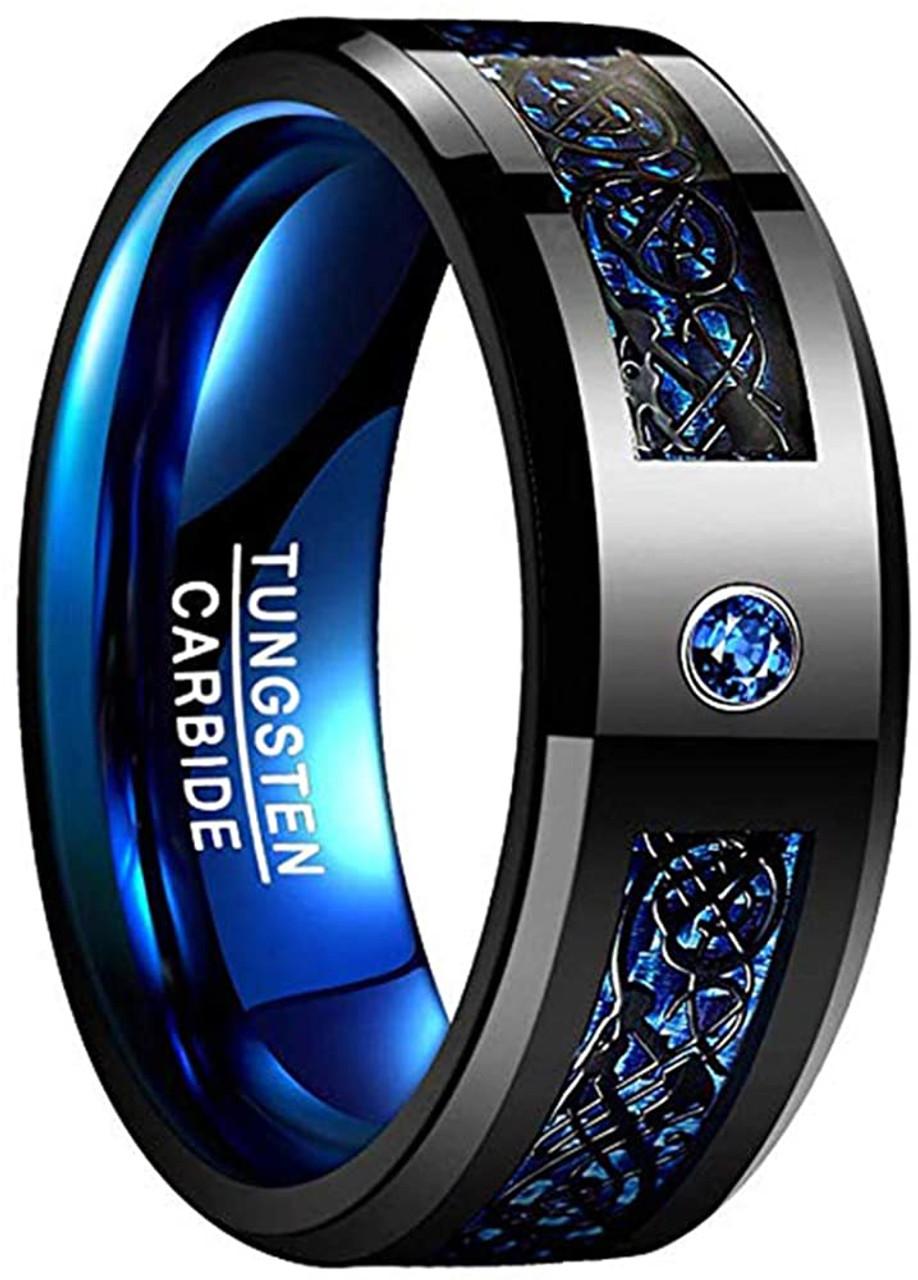 Black Silver Celtic Dragon Tungsten Ring Black Silver-8mm Blue Carbon Fiber Ring,Tungsten Black Silver Dragon Wedding Band Mens