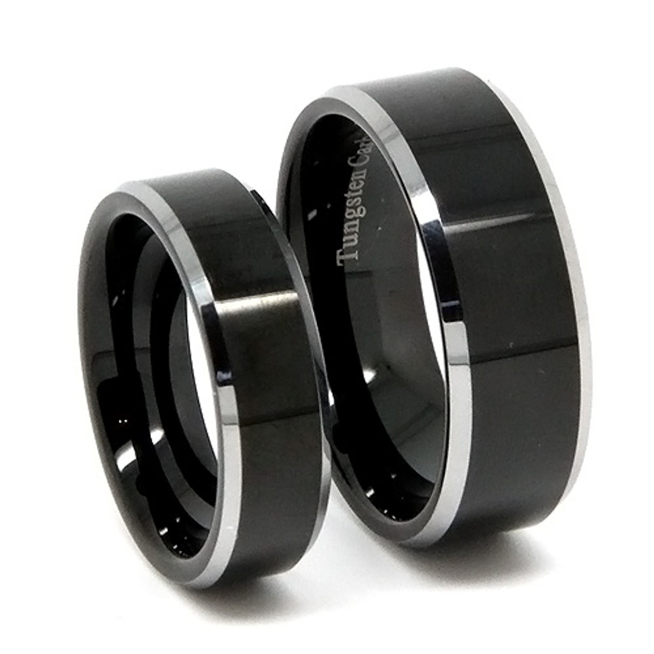 Black Tungsten Wedding Band Set, Classy Matching Set, Flat Top, Bevel Edge,  High Polish, 8MM and 6MM