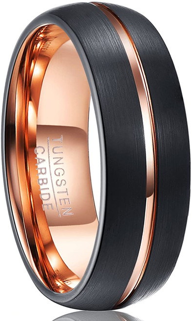 Men's 8mm Rose Gold Groove Tungsten Carbide Rings Domed Black Brushed Wedding Bands High Polished Comfort Fit Size 7-12