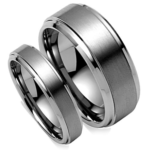 Tungsten Wedding Band Set, Brush Matte Matching Set, Bevel High Polish Edge, 8MM and 6MM