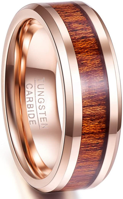 8mm Hawaiian Koa Wood Inlay Tungsten Ring Beveled Edge Wedding Band Size 7-12
