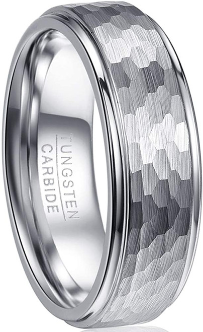 8mm Men's Multi-Faceted Tungsten Ring Brushed Finish Wedding Band Polished Step Edge Size 7-12