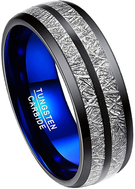 8mm Men's Imitated Meteorite Tungsten Carbide Ring Domed Wedding Band Size 7-12