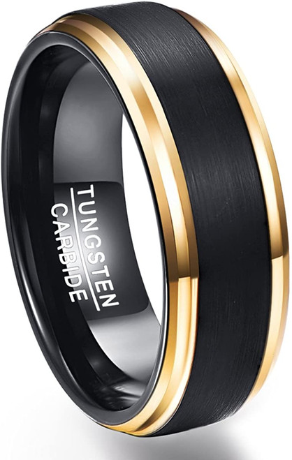8mm Men's Two Tone Tungsten Carbide Ring Black Brushed Gold Plated Beveled Edges Wedding Band Size 7-12