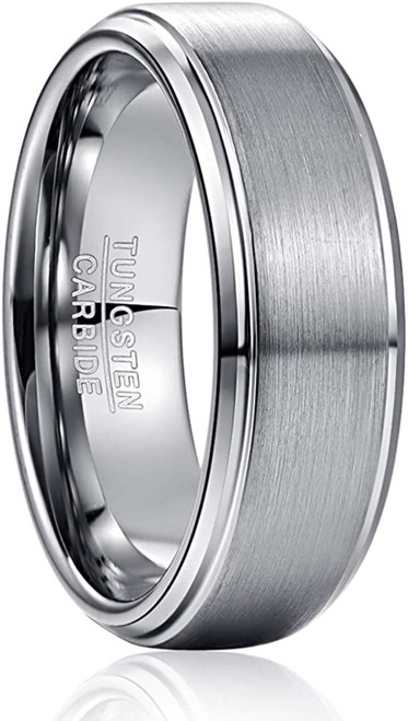 8mm Matte Silver Brushed Tungsten Carbide Wedding Bands for Men with Beveled Step Edges Comfort Fit Size 7-12