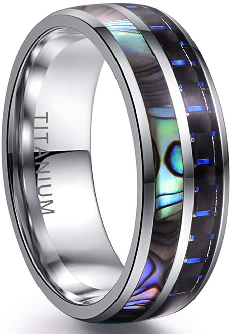 8mm Mens Domed Titanium Steel Wedding Ring with Abalone Shell and Black Blue Carbon Fiber Inlay Size 7-12