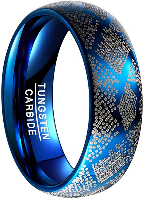 Mens 8mm Blue Dome Style Tungsten Carbide Rings with Laser Snake Grain Size 7-12