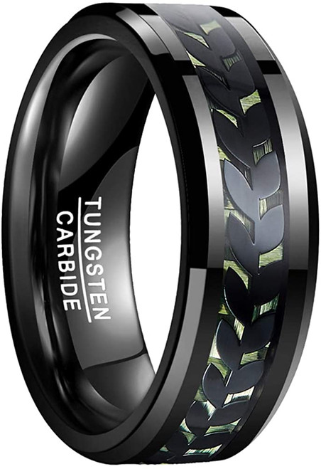 Unisex 8mm Leaves and Carbon Fiber Inlay Tungsten Carbide Rings Size 7-12