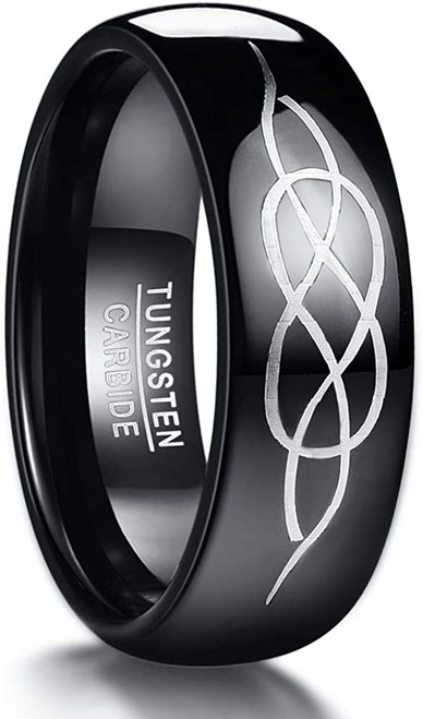 Men's 8mm Black Domed Celtic Knot Wedding Band Tungsten Carbide Promise Ring High Polished Size 7-12