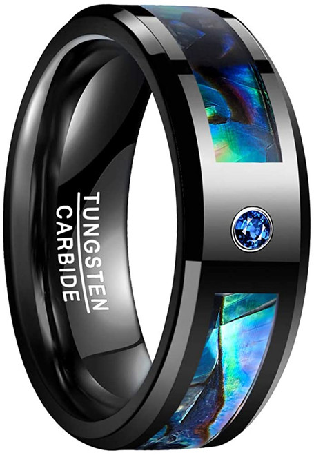 8mm Men's Abalone Shell and Blue Cubic Zirconia Inlay Tungsten Rings Black Wedding Bands Beveled Edge Size 7-12