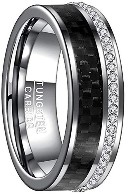 Mens 8mm Black Carbon Fiber White CZ Tungsten Carbide Wedding Band Size 7 to 12
