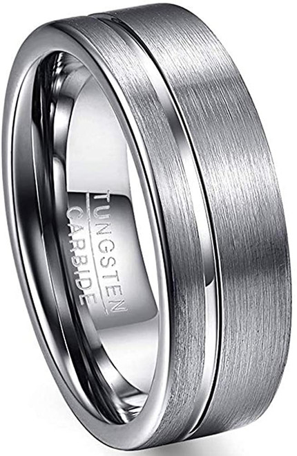 8mm Men's Polished Grooved Tungsten Carbide Rings Silver Grey Brushed Wedding Bands Flat Edge Comfort Fit Size 7-12