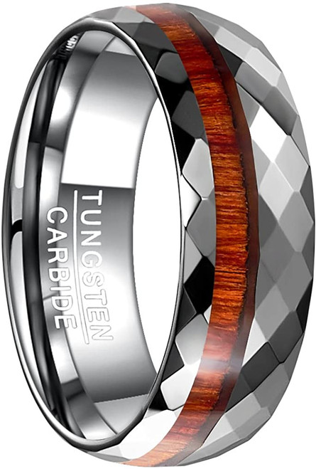 Men's 8mm Silver/Wood Wedding Band Multi-Faceted High Polished Domed Tungsten Carbide Ring Comfort Fit Size 7-12