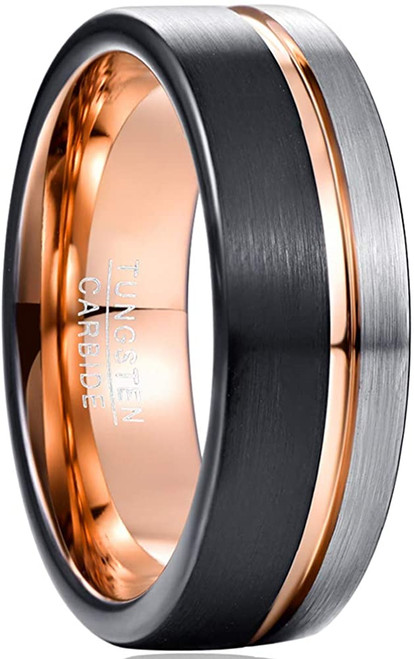 8mm Men's Rose Gold Line Tungsten Carbide Wedding Band Black and Matte Silver Brushed Comfort Fit Size 7-12