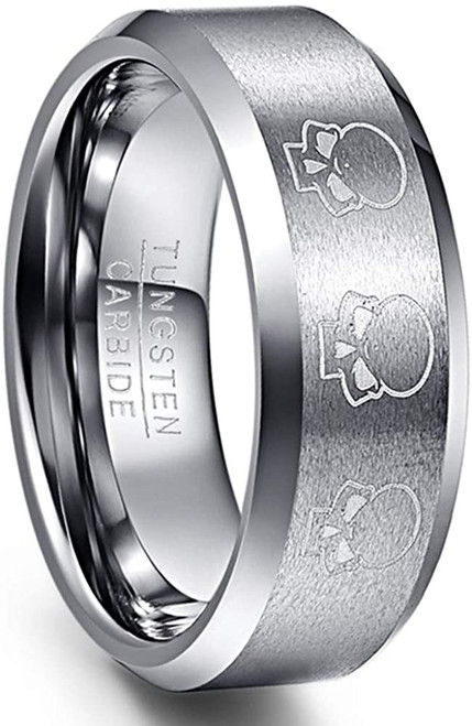 8mm Skull Pattern Basic Matte Finish Tungsten Carbide Wedding Band Polished Beveled Edge Comfort Fit Size 6-13