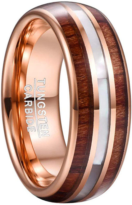 8mm Hawaiian Koa Wood Tungsten Rings Mother of Pearl Shell Wedding Band Comfor Fit Size 7-12