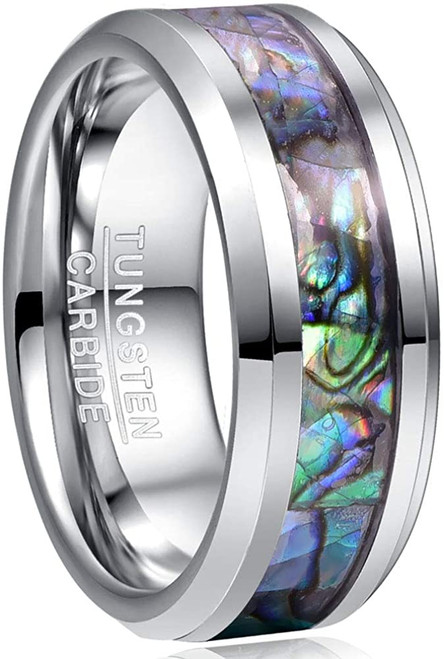 8mm Natural Abalone Shell/Mother of Pearl Inlay Tungsten Wedding Ring Men Beveled Edge Comfort Fit Size 6-14