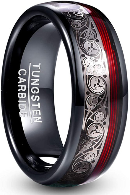 8mm Black Dome Tungsten Carbide Ring with Celtic Spiral and Red Guitar String Comfort Fit Size 7-12