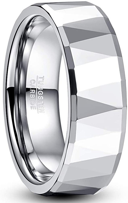8mm Silver Multi-Faceted Tungsten Carbide Wedding Rings for Men Beveled Edge High Polished Comfort Fit Size 7-12