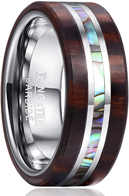 8mm Wood and Abalone Shell Inlay Tungsten Carbide Rings Wedding Band for Men Comfort Fit Size 7-13