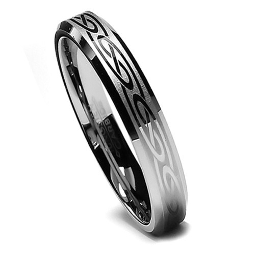 Tungsten Ring for Women, Wedding Band with Celtic Design, Bevel Edge, 6MM