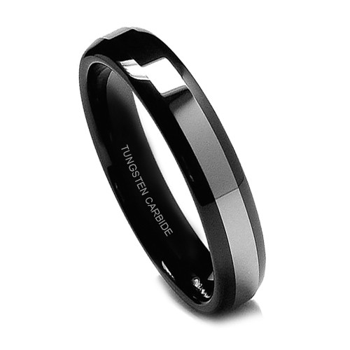 Black Tungsten Ring for Women, Wedding Band with Titanium Top, High Polish, 6MM