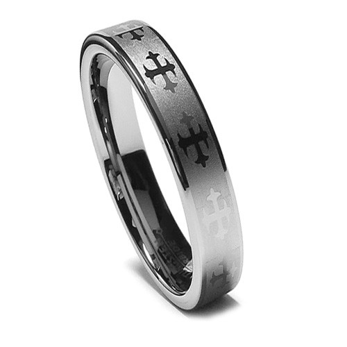 Tungsten Ring for Women, Wedding Band with Gothic Crosses, Flat Top, 6MM