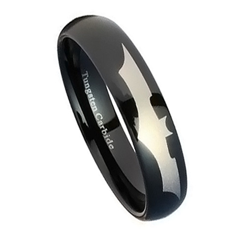 Black Tungsten Ring for Women, Wedding Band with Batman Emblem, Flat Top, 6MM
