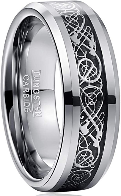 8mm Mens Celtic Dragon Tungsten Carbide Wedding Band Black / Silver Tone Carbon Fiber Engagement Ring Size 5-14