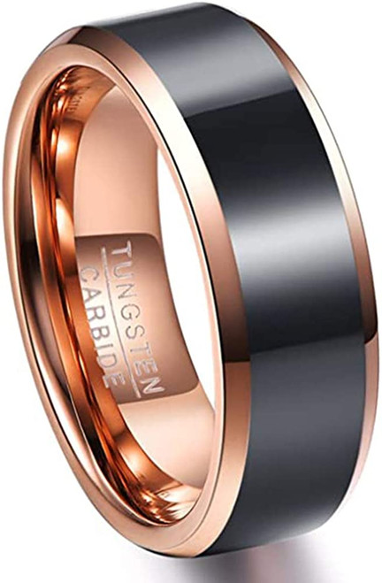 8mm Men's Duo Tone Tungsten Carbide Rings Polished Beveled Edge Wedding Bands Comfort Fit Size 7-12