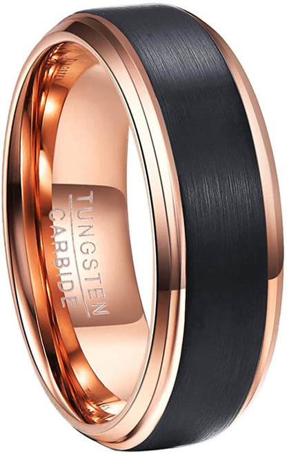 8mm Rose Gold Plated Tungsten Carbide Rings for Men Black Brushed Wedding Band Step Beveled Edge Comfort Fit Size 5-15