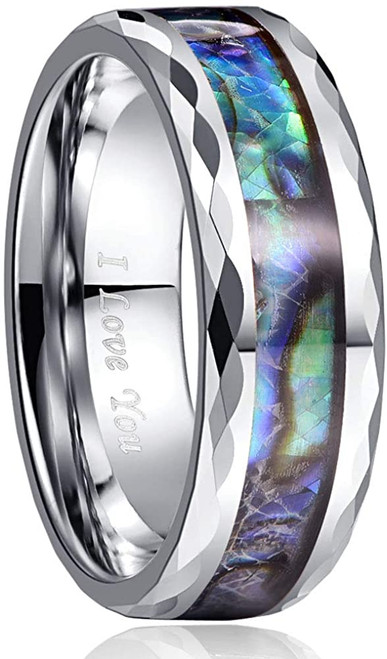 8mm Abalone Shell Silver Tone Tungsten Carbide Rings Unisex Wedding Bands Faceted Edge Comfort Fit Size 5-14