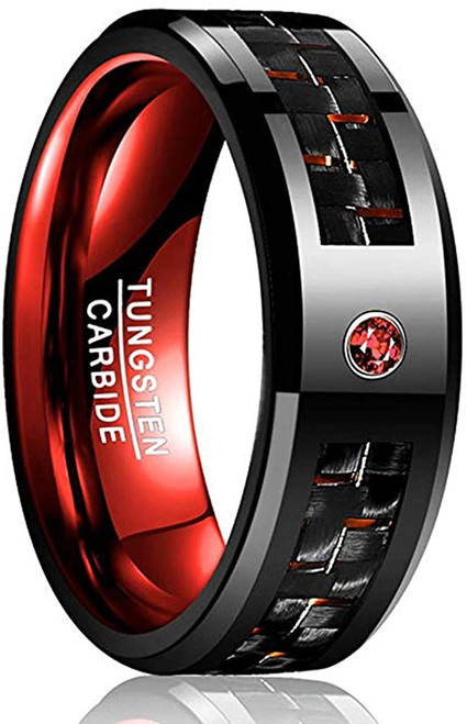 8mm Men's Black and Red Tungsten Carbide Rings with CZ Inlay Carbon Fiber Wedding Band Beveled Edge Comfort Fit Size 6-15