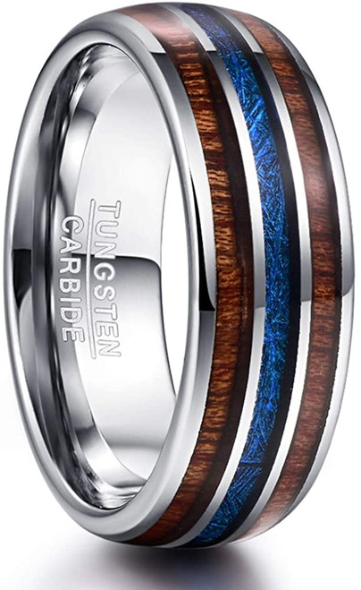 8mm Domed Hawaiian Koa Wood and Blue Imitated Meteorite Inlay Tungsten Carbide Wedding Band Comfort Fit Size 7-12