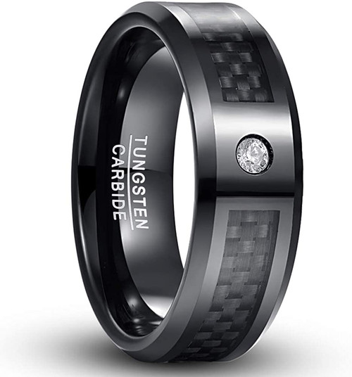 8mm Men's Black Tungsten Carbide Rings with CZ Inlay Carbon Fiber Wedding Band Beveled Edge Comfort Fit Size 6-15