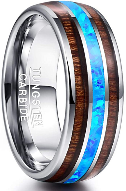 8mm Hawaiian Koa Wood and Blue Opal Inlay Tungsten Carbide Ring Domed Wedding Band Comfort Fit Size 6-14